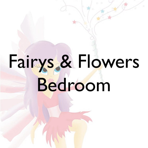 Faires and flower motifs detailing a bedroom