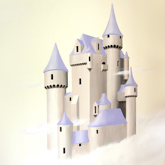 Fairytale style castle amongst the clouds