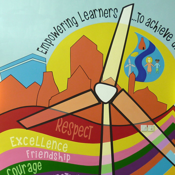 A mural highlighting the Primary School's key personal values